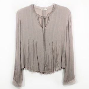 ANTHROPOLOGIE x Floreat | taupe peasant top blouse